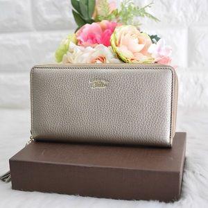 💖GUCCI Bamboo Zip Around Wallet